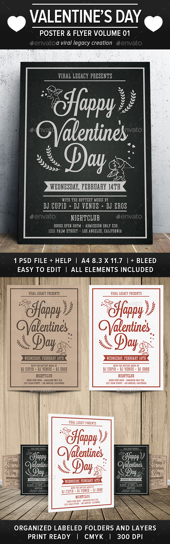 Happy Valentine's Day Poster / Flyer V01 - Flyers Print Templates