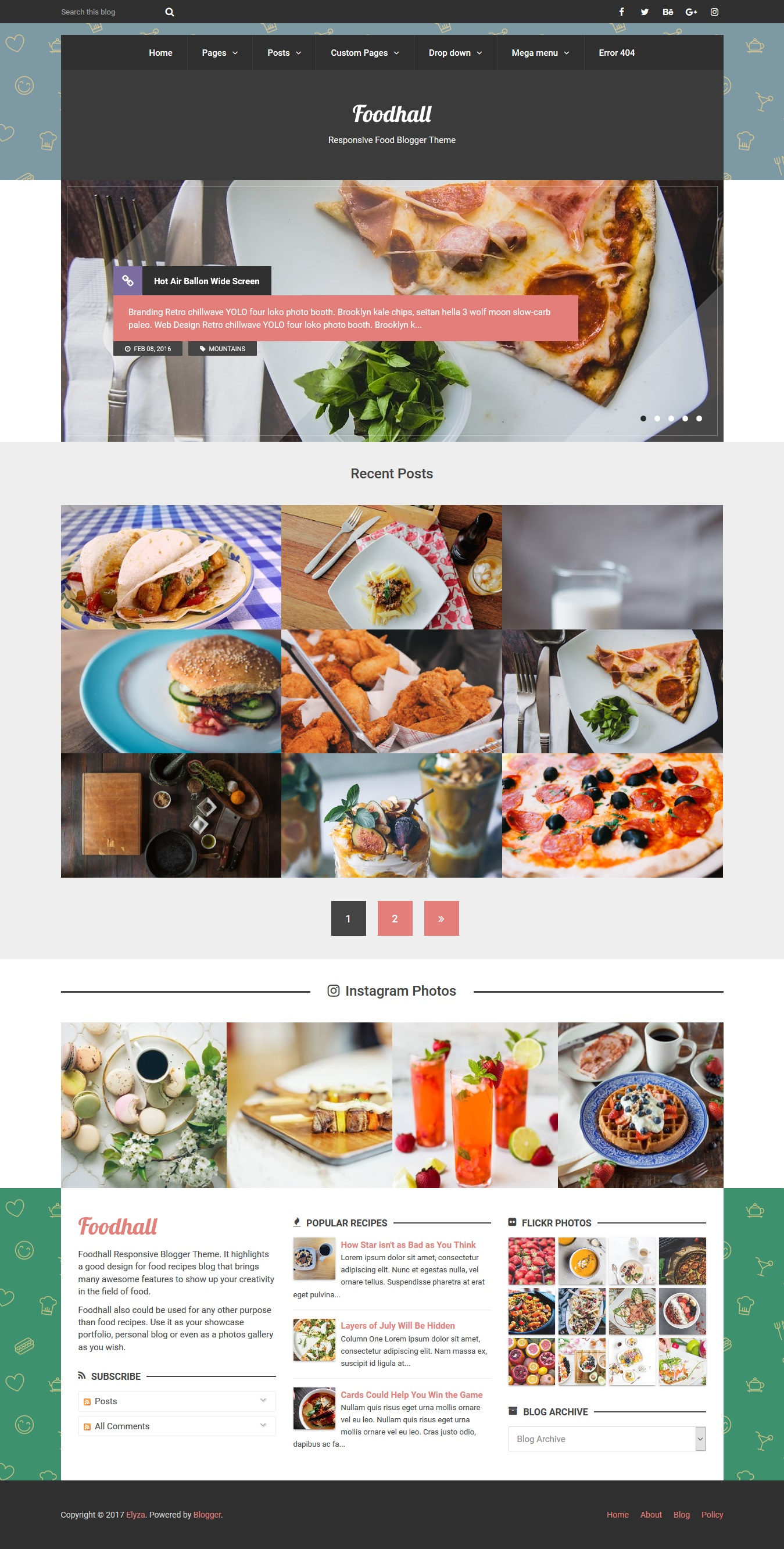 Foodhall responsive food blogger theme by elyza themeforest theme preview01foodhallpreviewg forumfinder Image collections