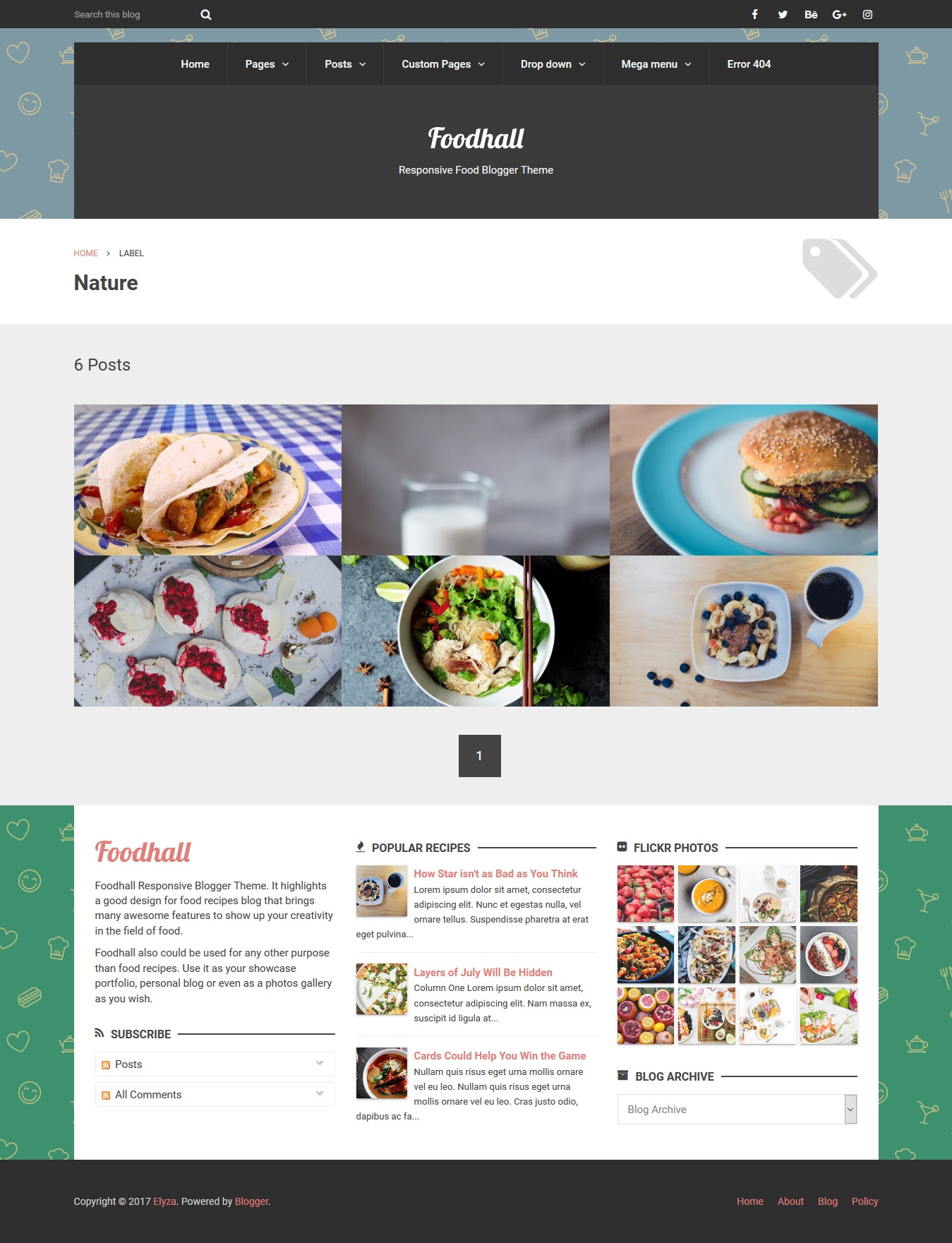 Foodhall responsive food blogger theme by elyza themeforest foodhall responsive food blogger theme forumfinder Image collections