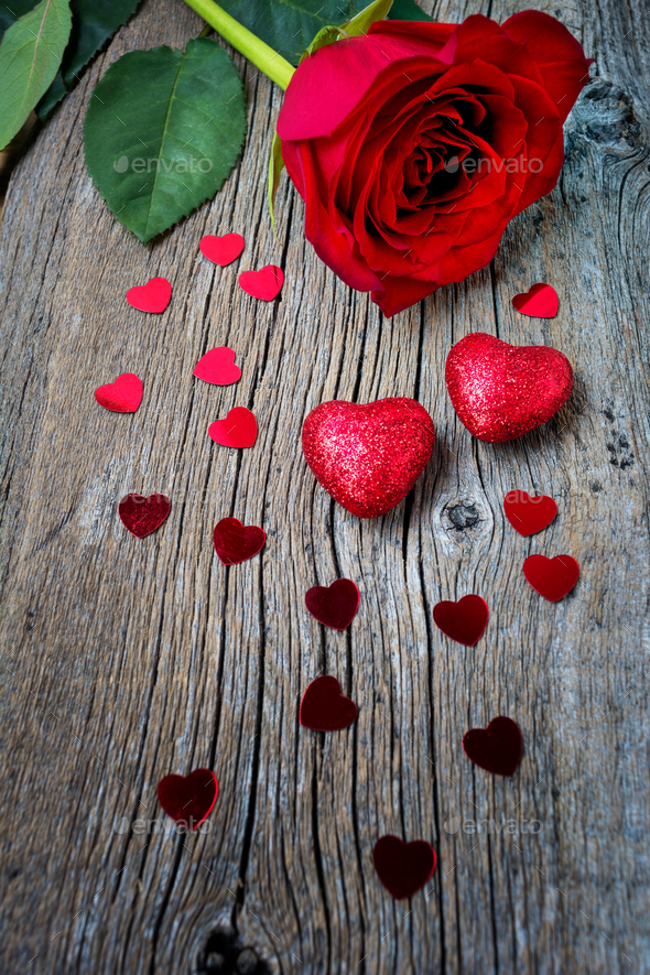 Valentines Day or wedding symbols one red rose and hearts - Stock Photo - Images