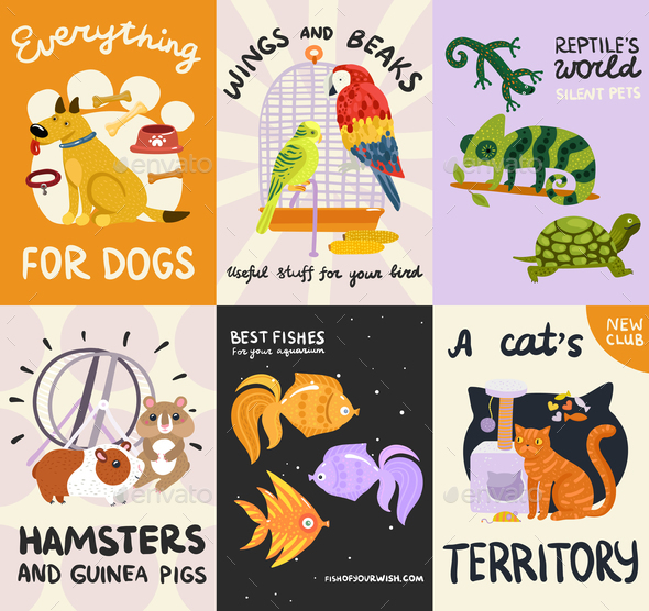 Pets Posters And Banners Set - Animals Characters
