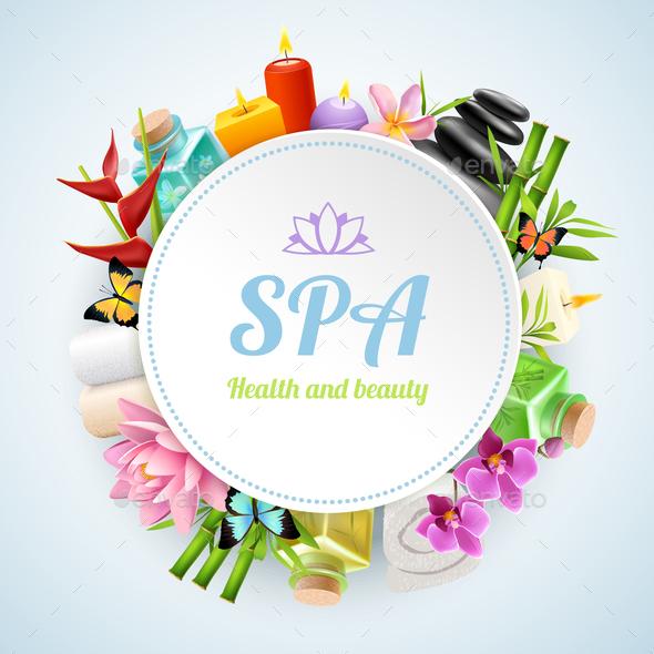 Spa Realistic Round Frame - Health/Medicine Conceptual