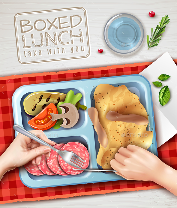 Boxed Lunch Hands Illustration - Food Objects