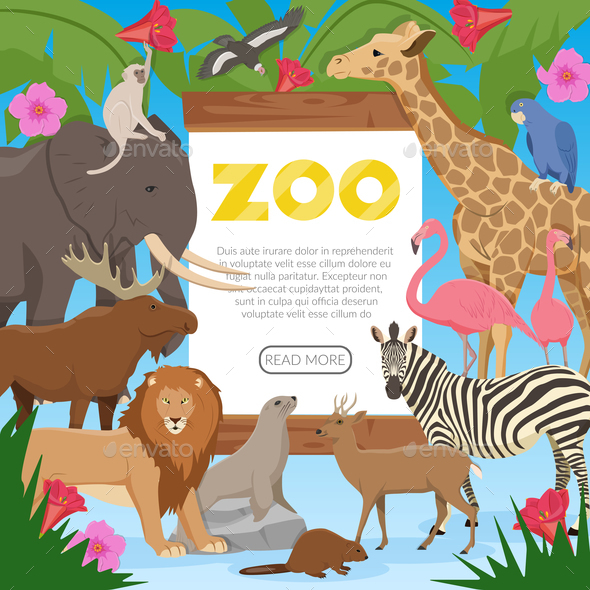 Zoo Cartoon Poster - Animals Characters