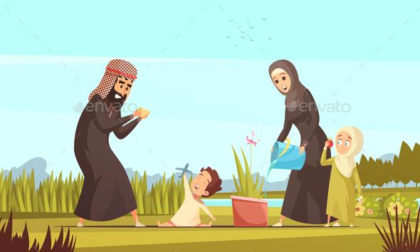 Arab Family Life Cartoon Poster - Religion Conceptual