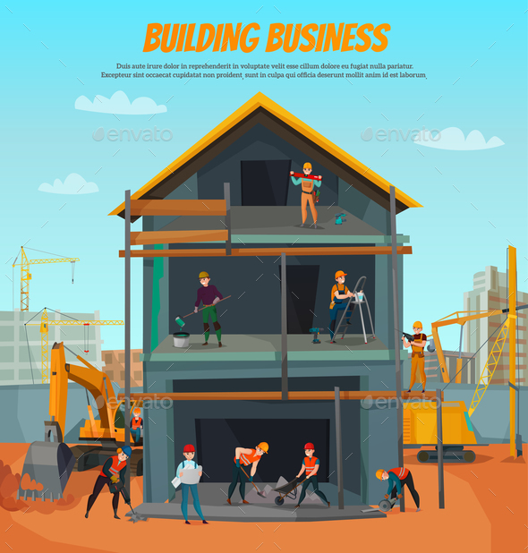 Construction Workers Illustration - Business Conceptual