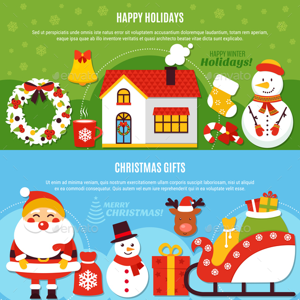 Christmas Holidays And Gifts Banners - Backgrounds Decorative