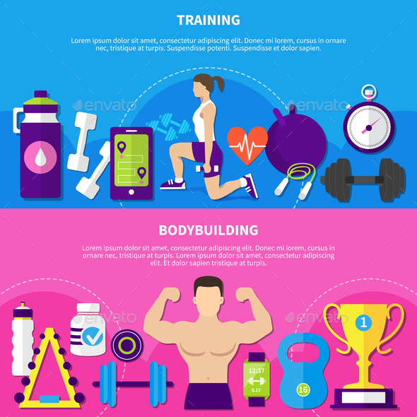 Bodybuilding Training Banners - People Characters