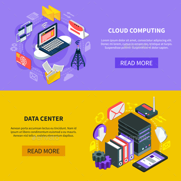 Cloud Computing Isometric Banners - Business Conceptual