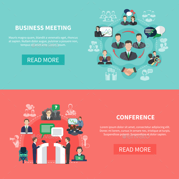 Commercial Intercourse Banners Set - Business Conceptual