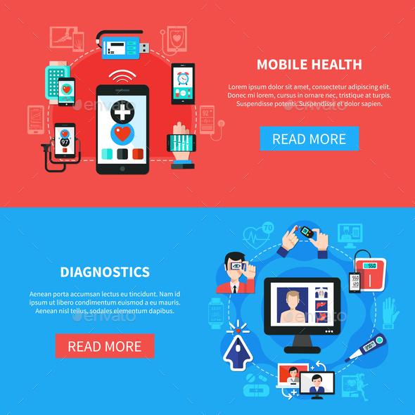 Digital Health Gadgets Flat Banners - Health/Medicine Conceptual
