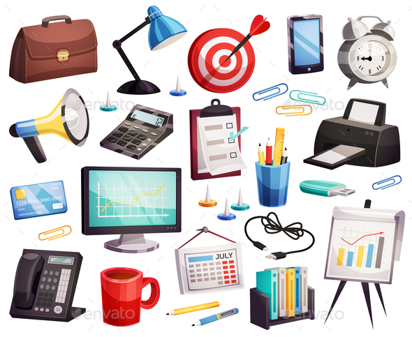 Business Office Accessories Symbols Collection - Business Conceptual
