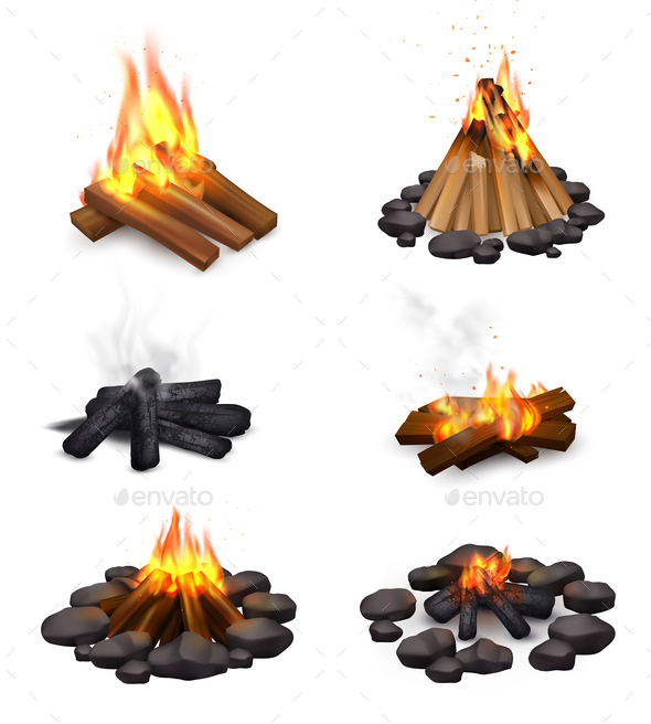 Realistic Steaming Campfire Collection - Miscellaneous Vectors