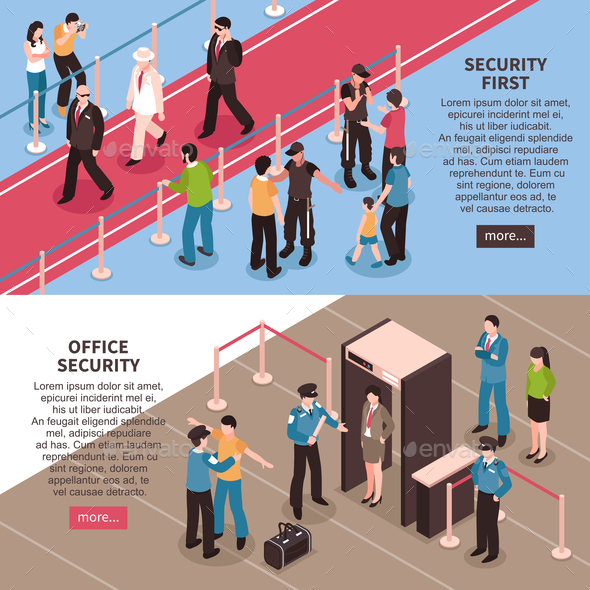 Security Horizontal Banners Set - People Characters