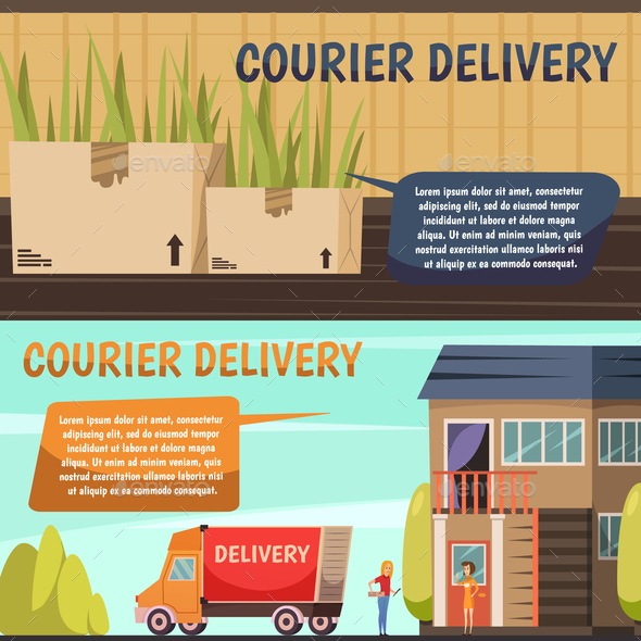 Courier Delivery 2 Orthogonal Banners - Buildings Objects