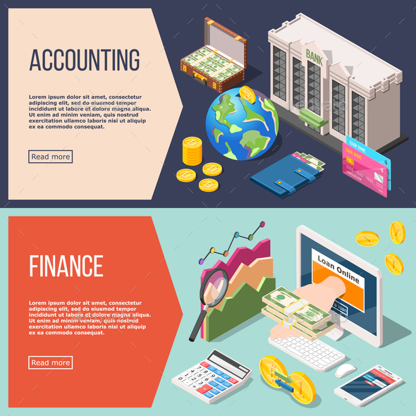 Accounting Isometric Banners Set - Business Conceptual