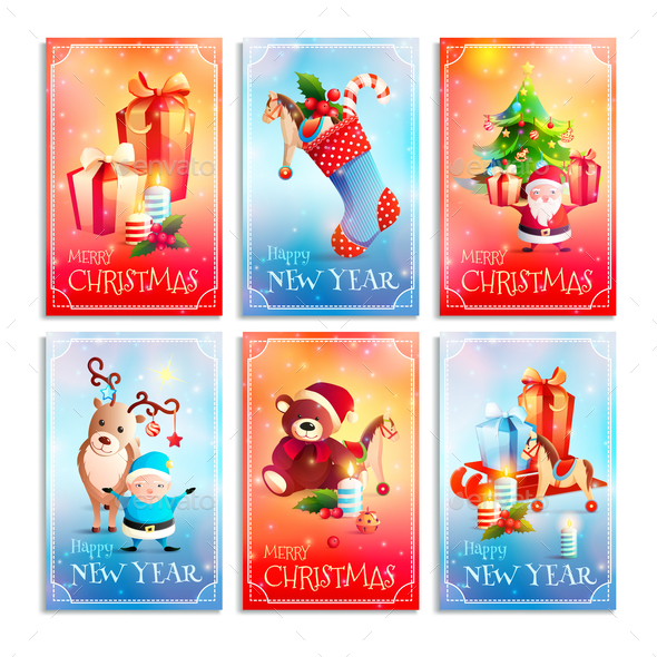 New Year Cartoon Cards - Animals Characters