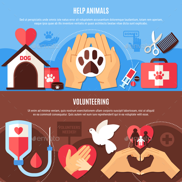 Volunteering Charity Horizontal Banners - Animals Characters