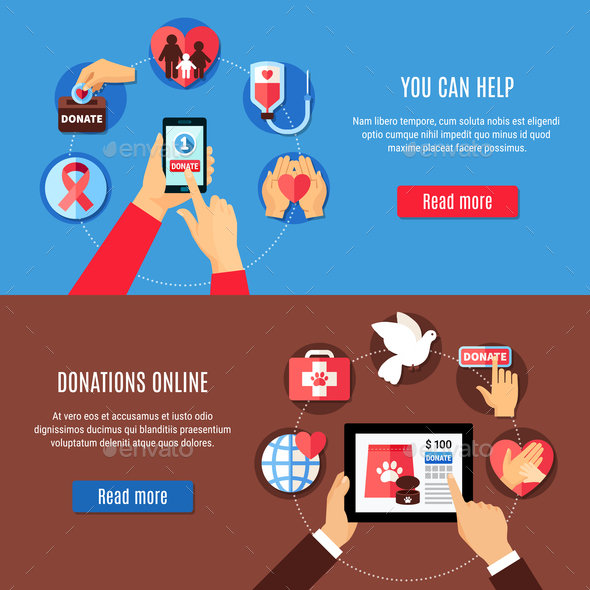 Donate Online Banners Set - Business Conceptual
