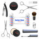 Realistic Barber Shop Accessories Set