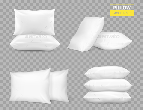 Realistic White Pillows Transparent Set - Backgrounds Decorative