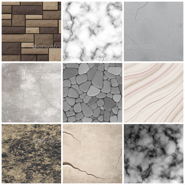 Realistic stone texture patterns collection - Buildings Objects