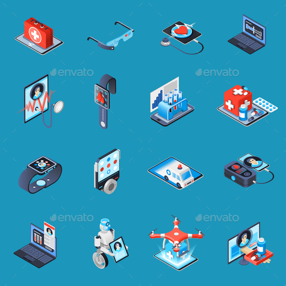 Digital Medicine Isometric Icons - Business Conceptual