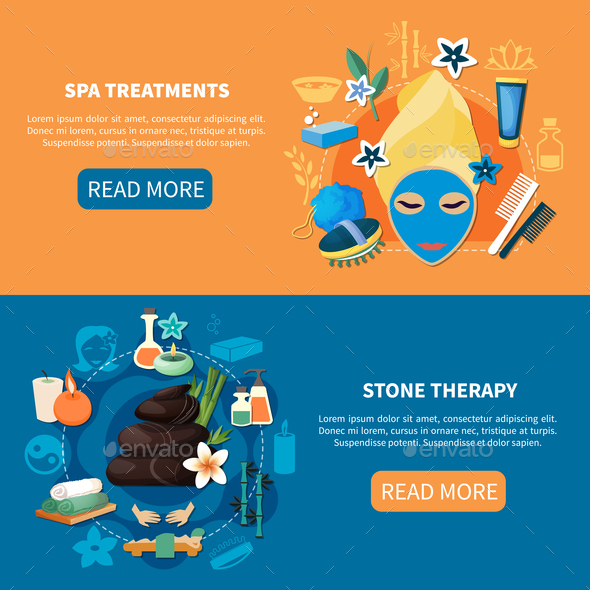 Spa Treatments 2 Flat Banners - Business Conceptual