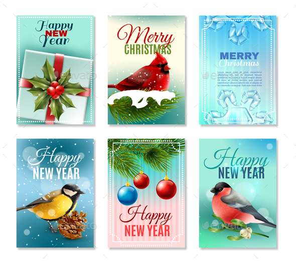 Christmas Winter Cards Set - Animals Characters