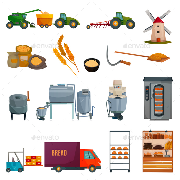 Bread Production Set - Food Objects