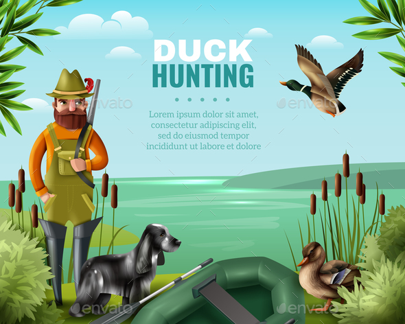 Duck Hunting Illustration - Animals Characters