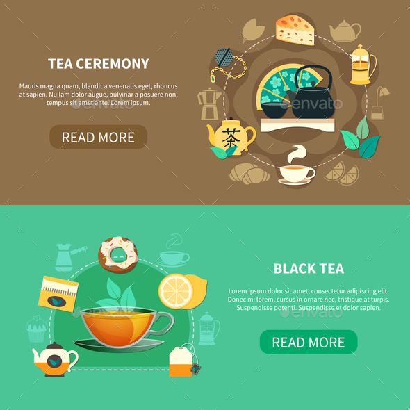 Tea Ceremony Horizontal Banners - Food Objects