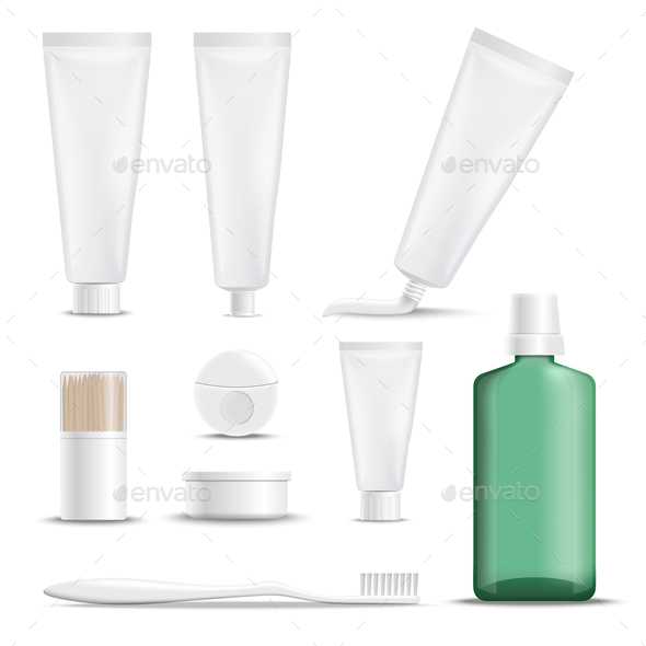 Realistic Products For Teeth Care - Health/Medicine Conceptual