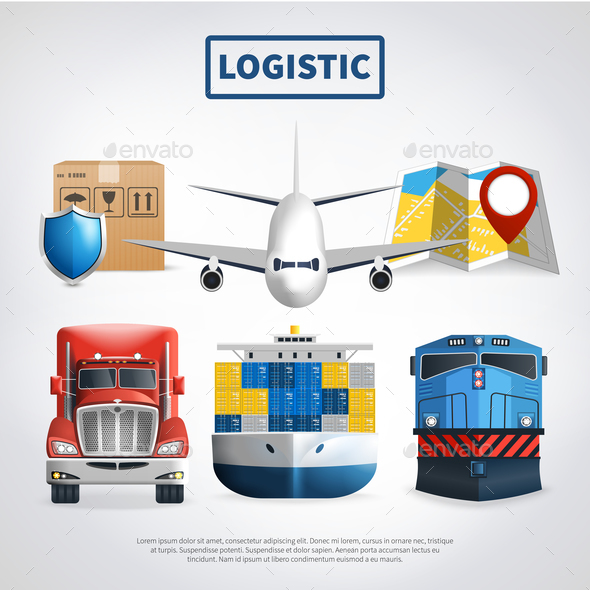 Colored Logistic Poster - Travel Conceptual