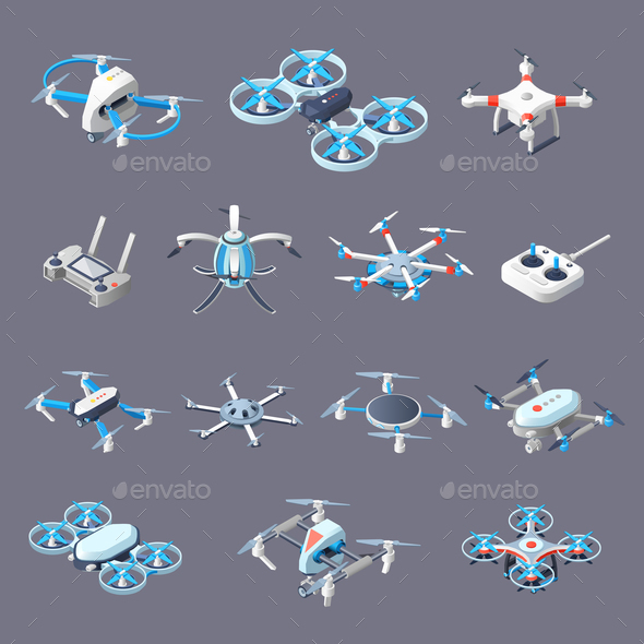 Drones Isometric Icons - Communications Technology