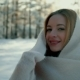 Woman with a Warm Scarf on Winter Landscape - VideoHive Item for Sale