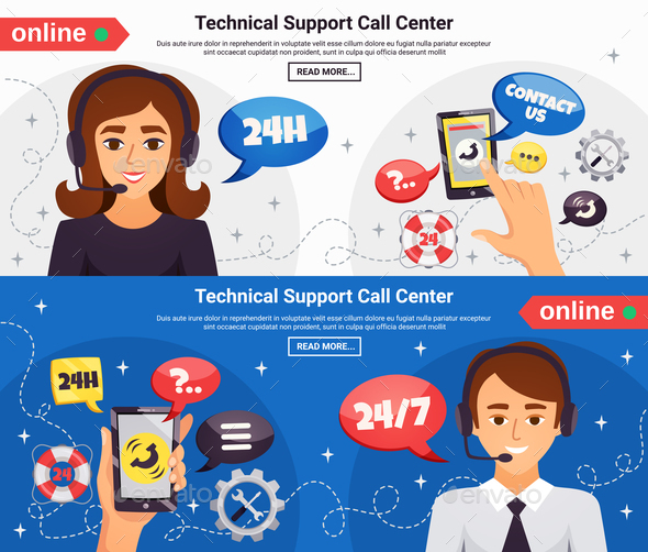 Call Center 2 Horizontal Banners - Services Commercial / Shopping