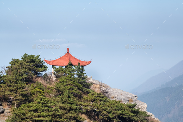 traditional pavilion on mount lushan - Stock Photo - Images