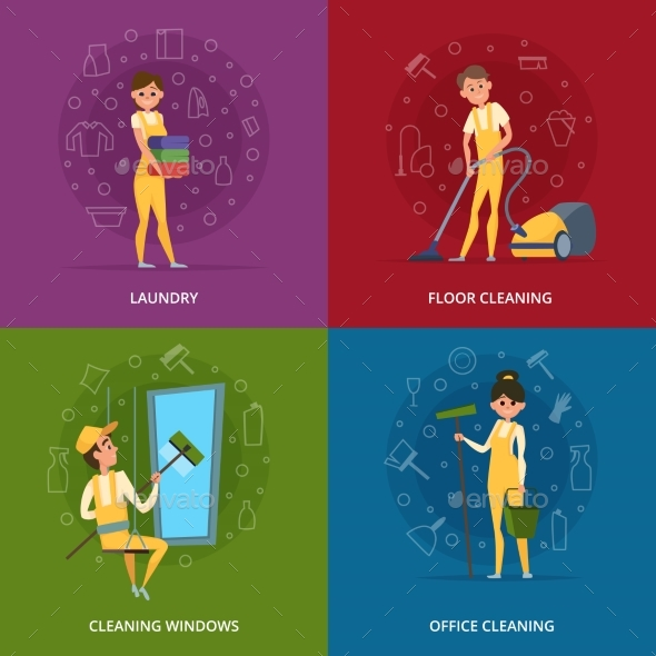 Concept Pictures of Cleaning Service Workers - People Characters