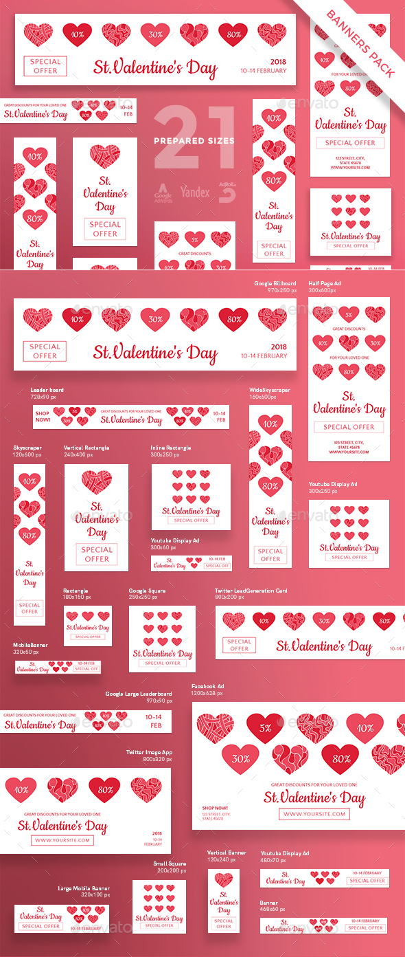 Valentine's Day Banner Pack - Banners & Ads Web Elements