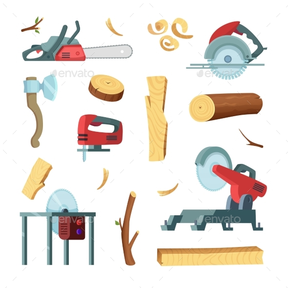 Icon Set of Different Tools of Wood Industry - Objects Vectors