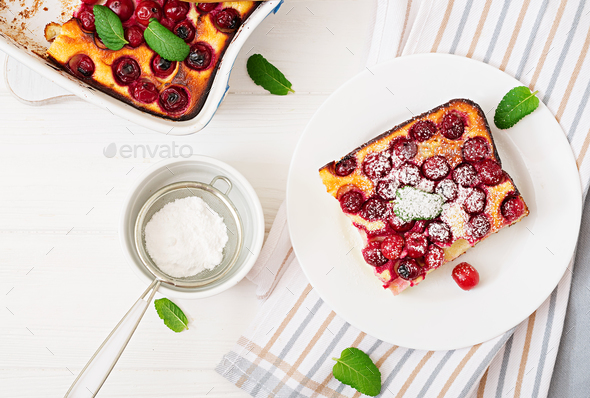 Cottage cheese casserole with cherries. Flat lay. Top view - Stock Photo - Images