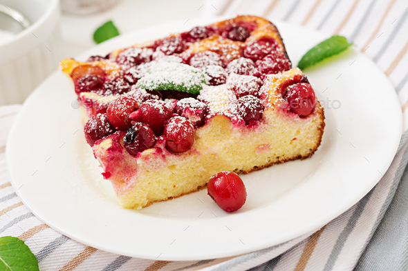 Cottage cheese casserole with cherries - Stock Photo - Images