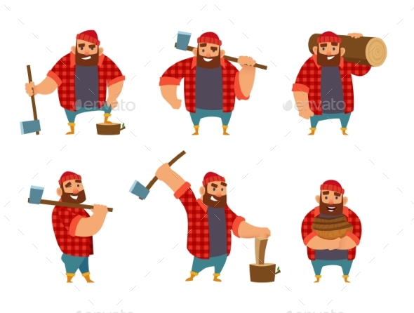 Lumberjack in Different Poses Holding Axe in Hands - People Characters