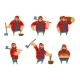 Lumberjack in Different Poses Holding Axe in Hands