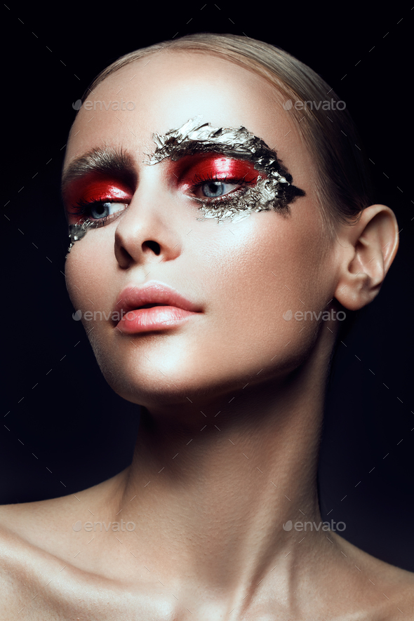 Fashion art make up woman face - Stock Photo - Images
