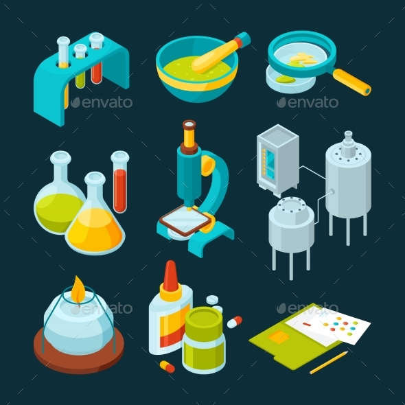 Pharmaceutical and Chemical Industry Isometric - Objects Vectors