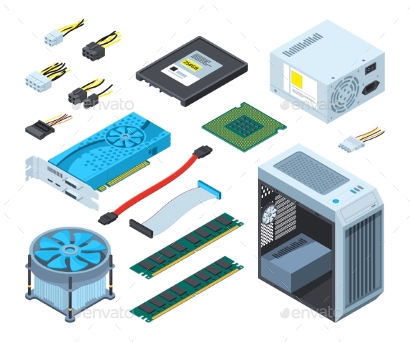 Illustrations of Different Electronic Parts - Computers Technology