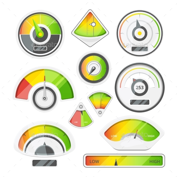 Different Speed Indicators - Miscellaneous Vectors