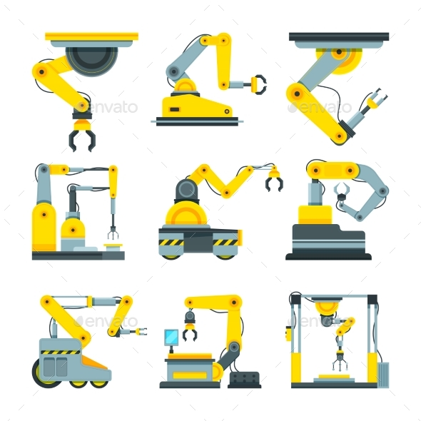 Industrial Mechanical Hands. - Objects Vectors